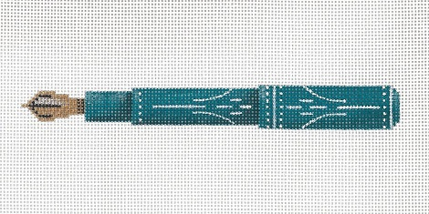 click here to view larger image of Turquoise And Ivory Pen (hand painted canvases)
