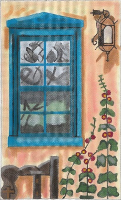 click here to view larger image of Santa Fe And Hollyhocks Window (hand painted canvases)