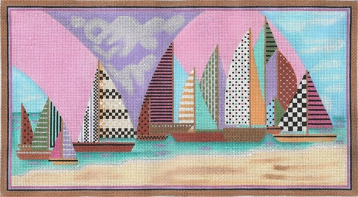 click here to view larger image of Sailboats (hand painted canvases)