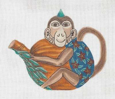 click here to view larger image of Monkey Teapot (hand painted canvases)