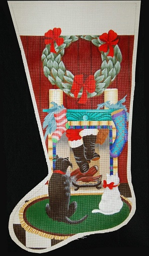 click here to view larger image of Santa's Really Coming Down Our Chimney! Stocking (hand painted canvases)