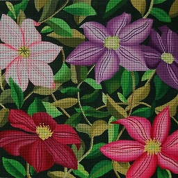 click here to view larger image of Giant Clematis Vines - 18 Count (hand painted canvases)