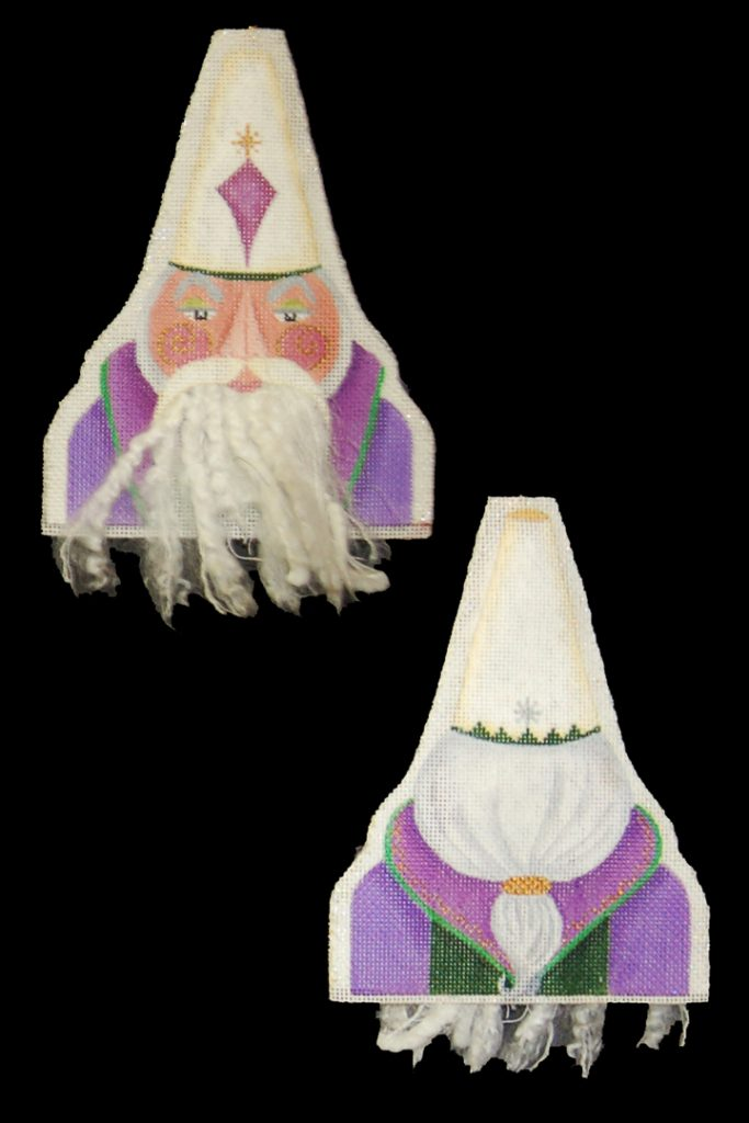 click here to view larger image of Bearded Ornament - Tall Hat Magi (hand painted canvases)