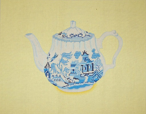 click here to view larger image of Blue Willow Teapot (hand painted canvases)