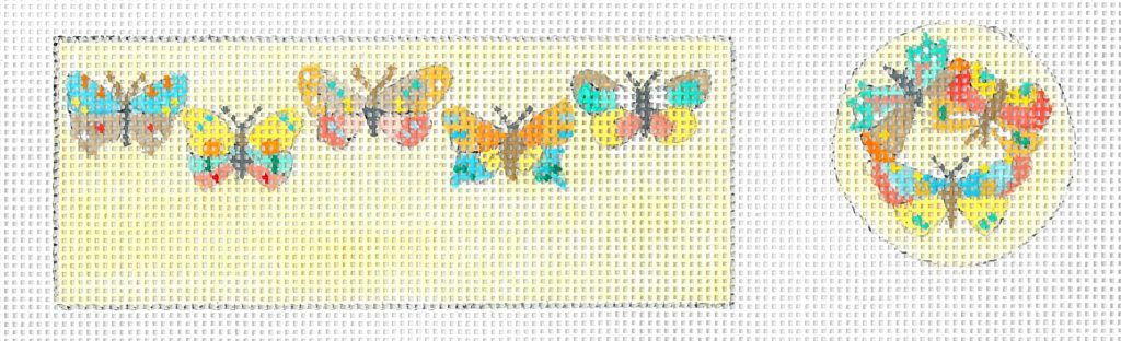 click here to view larger image of Butterflies Pin Cushion (hand painted canvases)
