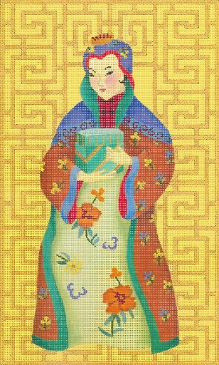 click here to view larger image of Chinese Lady With Box (hand painted canvases)