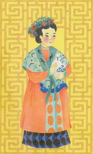 click here to view larger image of Chinese Lady With Vase (hand painted canvases)