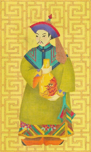 click here to view larger image of Chinese Man With Vase (hand painted canvases)