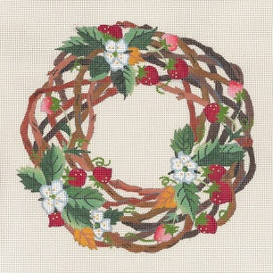 click here to view larger image of Strawberry Twig Wreath (hand painted canvases)