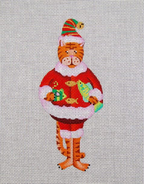 click here to view larger image of A Santa Cat With Fish (hand painted canvases)