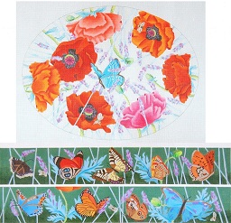 click here to view larger image of Poppies And Butterflies Footstool (hand painted canvases)