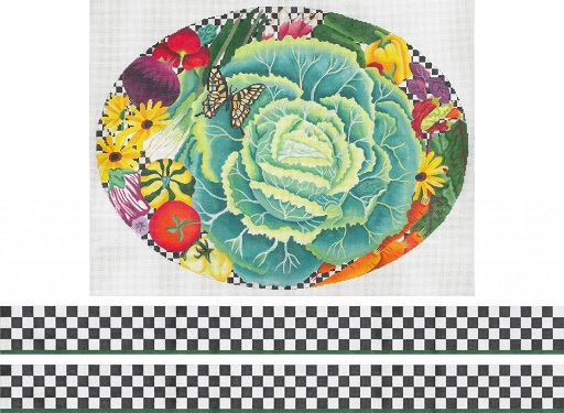 click here to view larger image of Bountiful Garden Footstool (hand painted canvases)