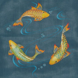 click here to view larger image of 3 Koi Pond (hand painted canvases)