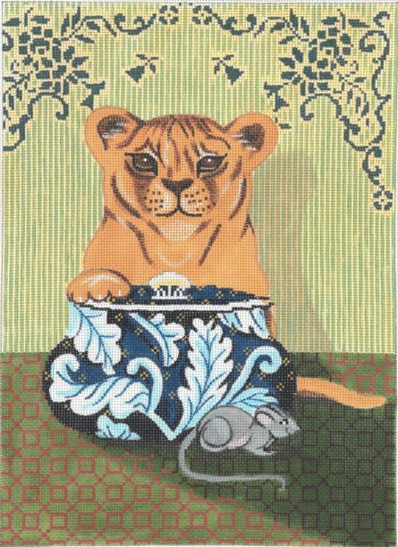click here to view larger image of Baby Lion And Mouse (hand painted canvases)