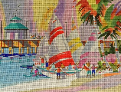click here to view larger image of Sand & Sails (hand painted canvases)