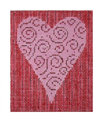 click here to view larger image of Swirling Heart w/Stripe Background (hand painted canvases)