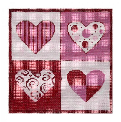click here to view larger image of Patchwork Hearts (hand painted canvases)
