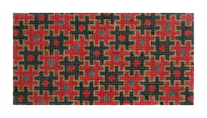 click here to view larger image of Puzzle Wallet, Red & Black (hand painted canvases)