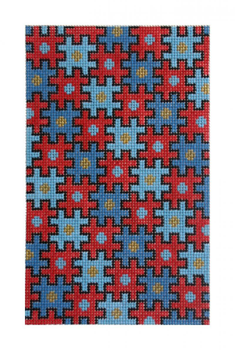 click here to view larger image of Puzzle Bag, Red & Blue (hand painted canvases)