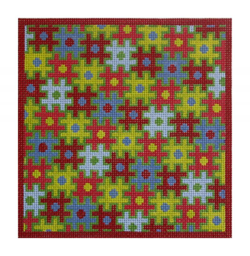 click here to view larger image of Puzzle Folio, Red & Green (hand painted canvases)