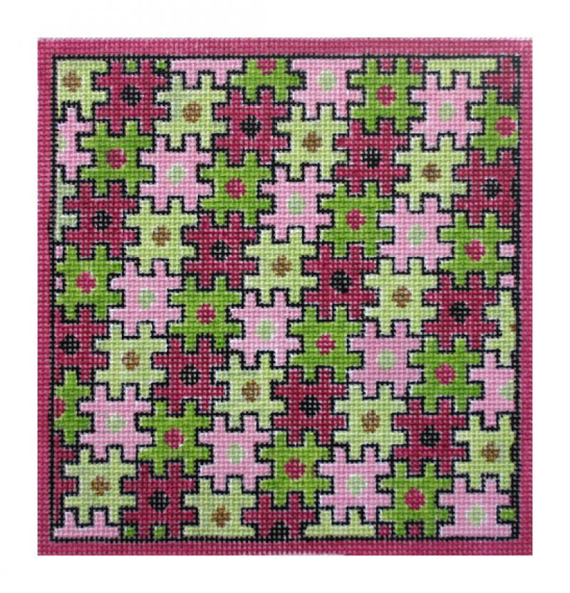 click here to view larger image of Puzzle Folio, Pink & Green (hand painted canvases)