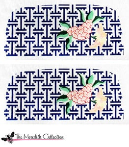 click here to view larger image of Lattice with Flowers - Navy (hand painted canvases)