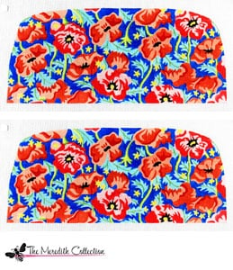 click here to view larger image of Orange and Pink Poppies - Navy Bkg. (hand painted canvases)