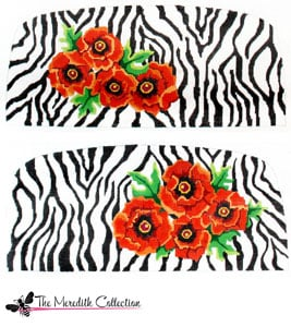 click here to view larger image of Zebra with Orange Poppies (hand painted canvases)