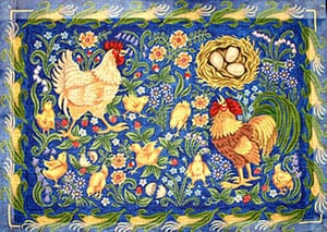 click here to view larger image of Roosters and Chickens (hand painted canvases)