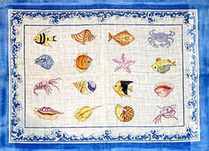 click here to view larger image of Shells, Fish, and Single Sea Spray Border (hand painted canvases)