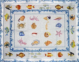 click here to view larger image of Tropical Fish with Double Sea Spray and Seashell Border (hand painted canvases)