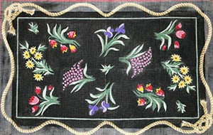 click here to view larger image of Victorian Summer Floral - Black Bkg. & Rope Border (hand painted canvases)
