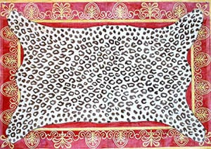 click here to view larger image of Leopard Skin on Red Bkg. - Gold Braid Border (hand painted canvases)