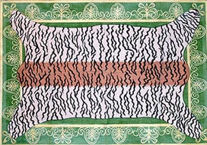click here to view larger image of Tiger Skin on Emerald Bkg. - Gold Braid Border (hand painted canvases)