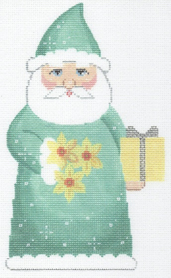 click here to view larger image of March Birthstone Santa (hand painted canvases)