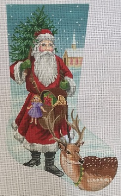 click here to view larger image of Old World Santa Stocking (hand painted canvases)