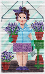 "click here to view larger image of In the Garden ""Hyacinth"" (hand painted canvases)"