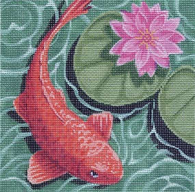 click here to view larger image of Koi with Pink Flower (hand painted canvases)