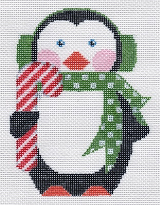 click here to view larger image of Penguin with Candy Cane  (hand painted canvases)