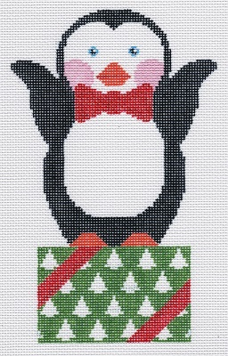 click here to view larger image of Penguin on Present (hand painted canvases)