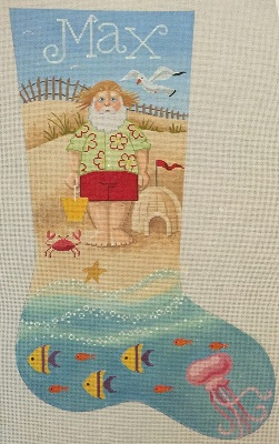 click here to view larger image of Beach Santa Stocking (hand painted canvases)