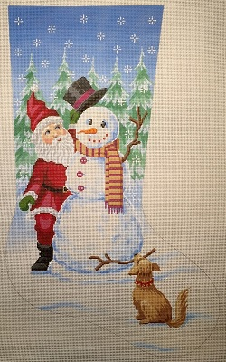 click here to view larger image of Santa and Snowman Stocking (hand painted canvases)