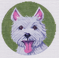 click here to view larger image of Westie Ornament (hand painted canvases)