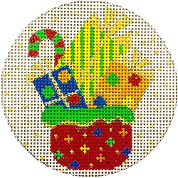 click here to view larger image of Christmas Gifts Ornament (hand painted canvases)