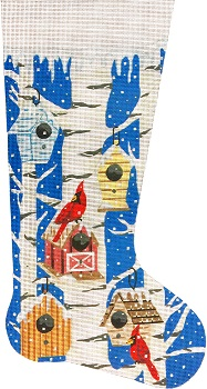 click here to view larger image of Cardinals and Birdhouses Stocking (hand painted canvases)
