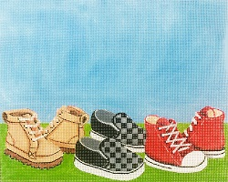 click here to view larger image of Boys Shoes Birth Announcement (hand painted canvases)