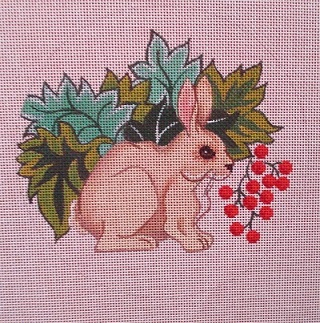 click here to view larger image of Bunny w/ Berries (hand painted canvases)