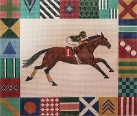 click here to view larger image of Race Horse w/ Silk Border (hand painted canvases)