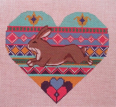 click here to view larger image of Hare in Heart Collage (hand painted canvases)