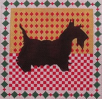 click here to view larger image of Scottie on Collage (hand painted canvases)